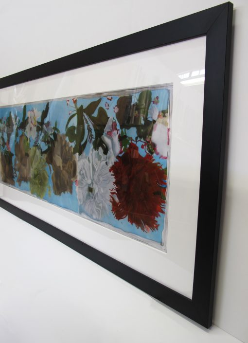 Polly Norman artist side view of framed mums